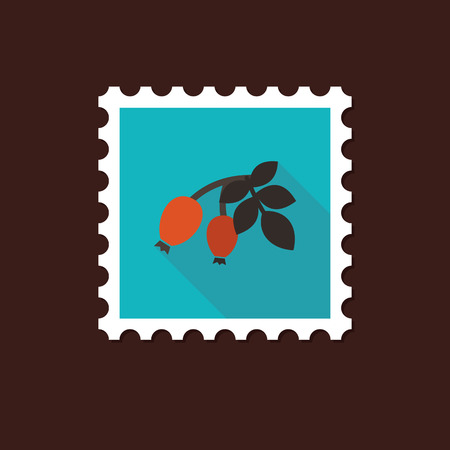 red berries: Rosehip branch with red berries flat stamp with long shadow