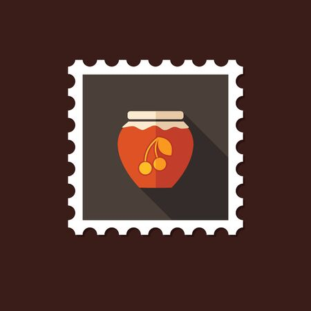 canned fruit: Cherry jam jar flat stamp with long shadow Illustration
