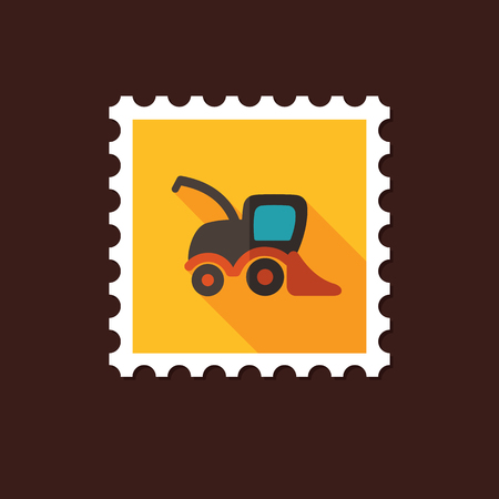 harvester: Combine harvester flat stamp with long shadow