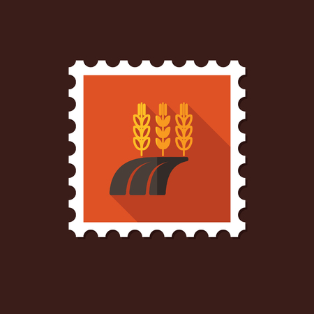barley field: Ears of Wheat, Barley or Rye on field flat stamp with long shadow, eps 10 Illustration