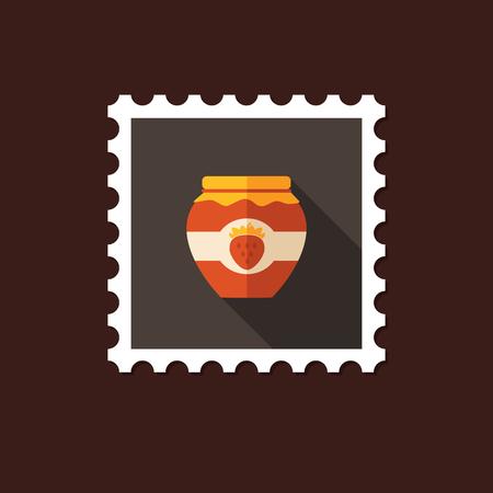 strawberry jam: Strawberry jam jar flat stamp with long shadow