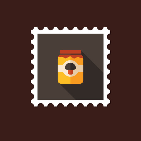 tinned: Mushroom canned flat stamp with long shadow