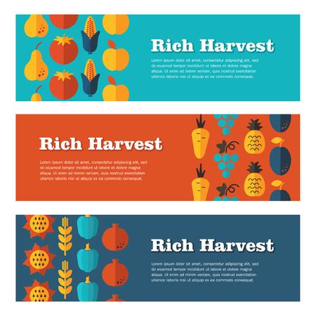 fall harvest: Rich Harvest vector flat banners set