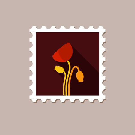 opium: Poppy flat stamp with long shadow, eps 10