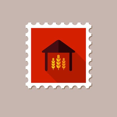 granary: Barn flat stamp with long shadow, eps 10