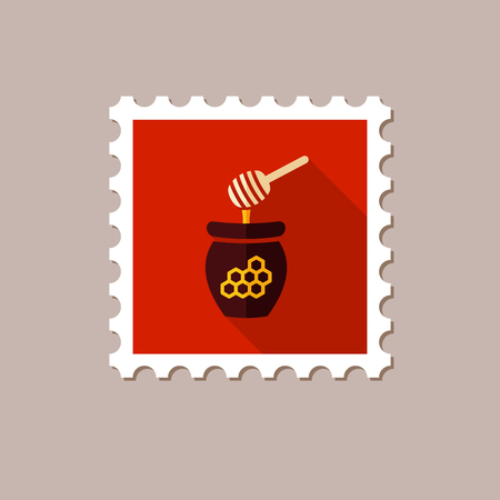 honeyed: Honey flat stamp with long shadow, eps 10 Illustration