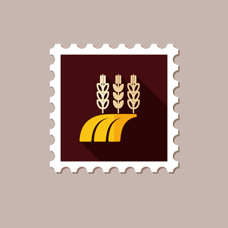 harvesting: Ears of Wheat, Barley or Rye on field flat stamp with long shadow, eps 10 Illustration