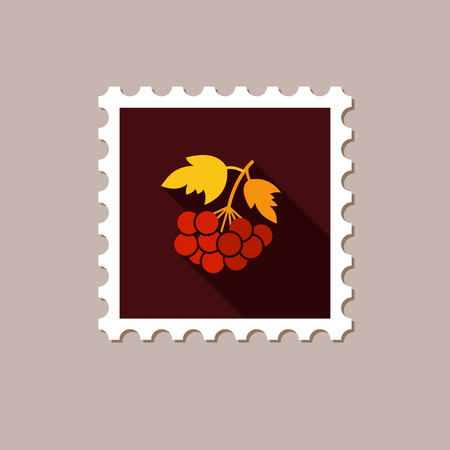 ashberry: Rowan branch flat stamp with long shadow, eps 10 Illustration