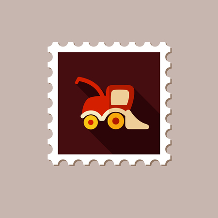 combine: Combine harvester flat stamp with long shadow, eps 10