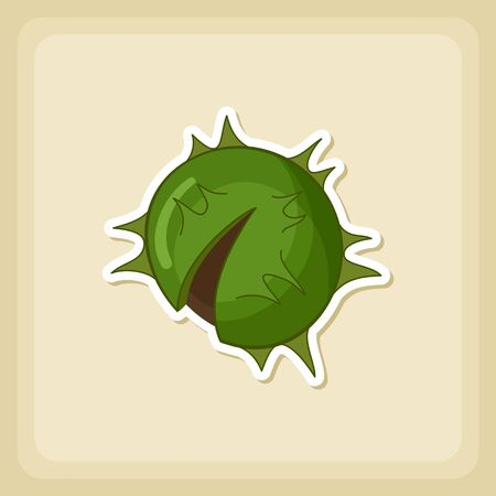 prickly fruit: Chestnut icon, Harvest Thanksgiving vector illustration, eps 10
