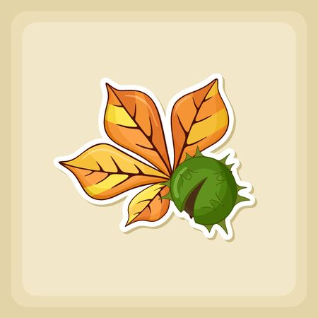 prickly fruit: Chestnut with  leaf icon, Harvest Thanksgiving vector illustration, eps 10