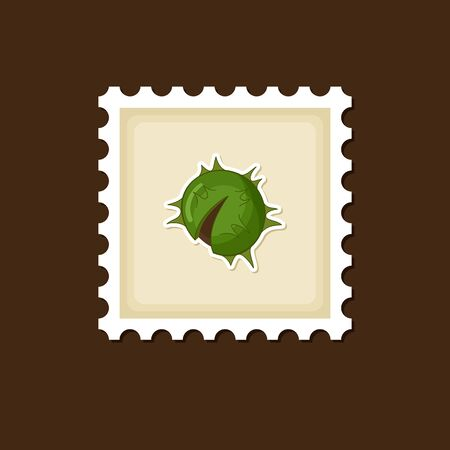 prickly fruit: Chestnut stamp, Harvest Thanksgiving vector illustration, eps 10 Illustration