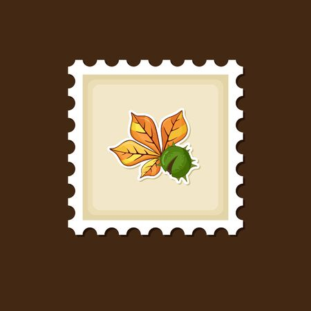 prickly fruit: Chestnut with  leaf stamp, Harvest Thanksgiving vector illustration, eps 10