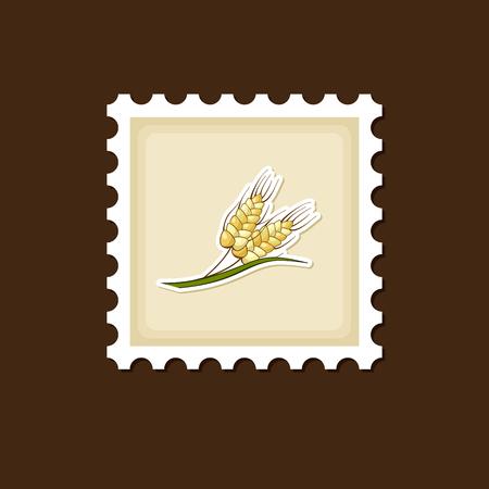 sheaf: Spikelets of wheat stamp, Harvest Thanksgiving vector illustration, eps 10