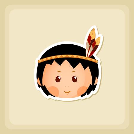 pilgrim costume: American Indian children icon, Thanksgiving day, eps 10