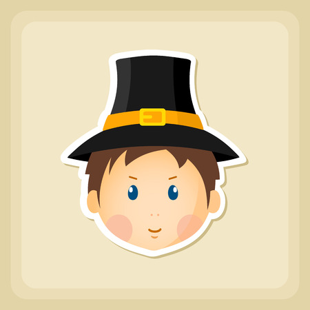 pilgrim costume: American Pilgrim children icon, Thanksgiving day, eps 10