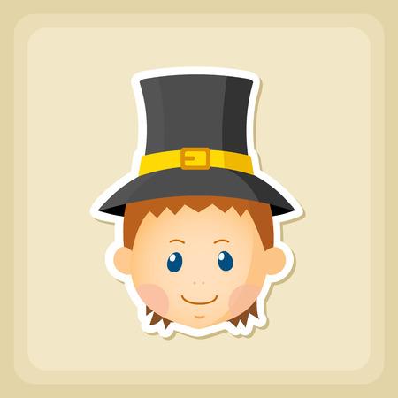 pilgrim: American Pilgrim children icon, Thanksgiving day, eps 10
