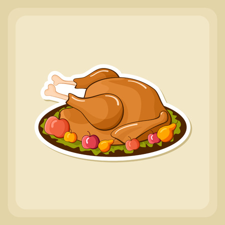 cooked meat: Roasted chicken or Turkey ready for Thanksgiving. Vector icon or sign.