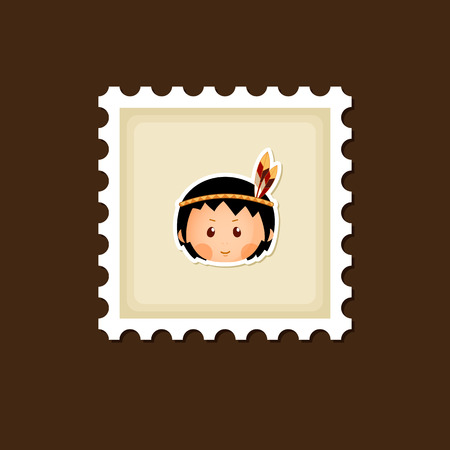 pilgrim costume: American Indian children stamp, Thanksgiving day, eps 10