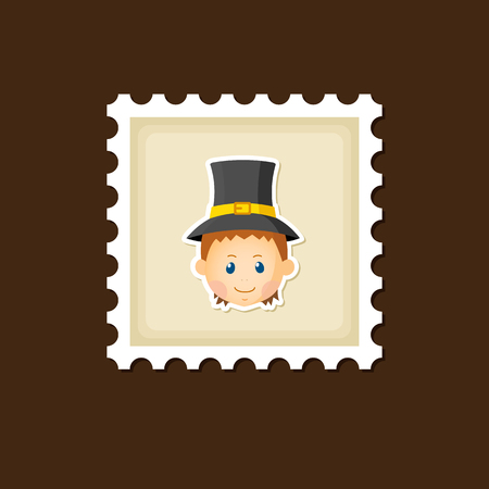 pilgrim costume: American Pilgrim children stamp, Thanksgiving day, eps 10 Illustration