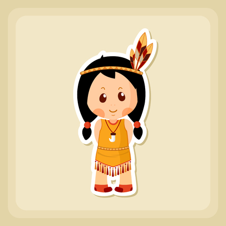 native american girl: American Indian children icon, Thanksgiving day, eps 10
