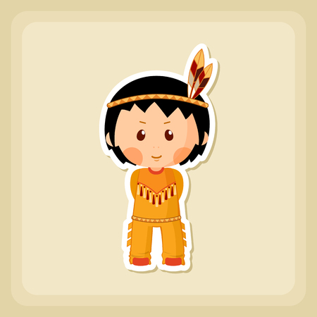 pilgrim costume: American Indian children icon, Thanksgiving day, eps 10