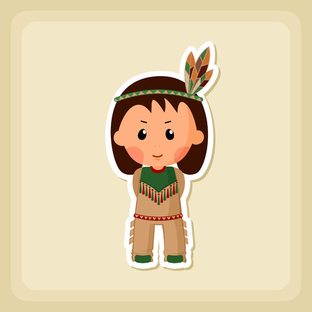 fall harvest: American Indian children icon, Thanksgiving day, eps 10