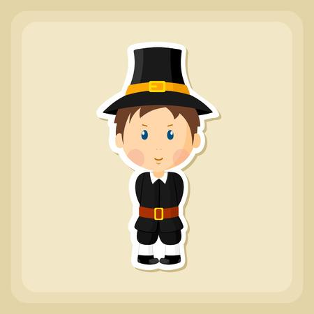 pilgrim costume: American Pilgrim children icon, Thanksgiving day, eps 10