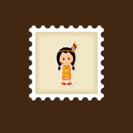 pilgrim costume: American Indian children stamp, Thanksgiving day, eps 10