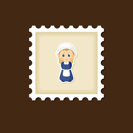 post stamp: American Pilgrim children stamp, Thanksgiving day, eps 10 Illustration