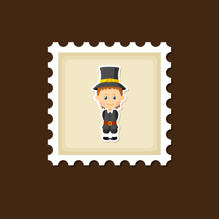 pilgrim costume: American Pilgrim children stamp, Thanksgiving day, eps 10 Illustration