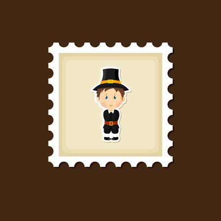 pilgrim: American Pilgrim children stamp, Thanksgiving day, eps 10 Illustration