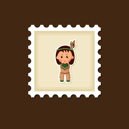 eps 10: American Indian children stamp, Thanksgiving day, eps 10