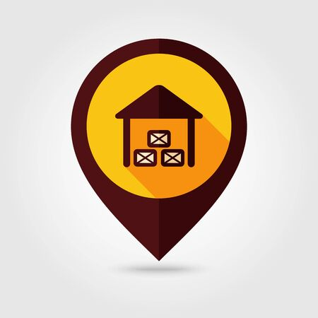 shed: Shed flat mapping pin icon, map pointer, vector illustration eps 10