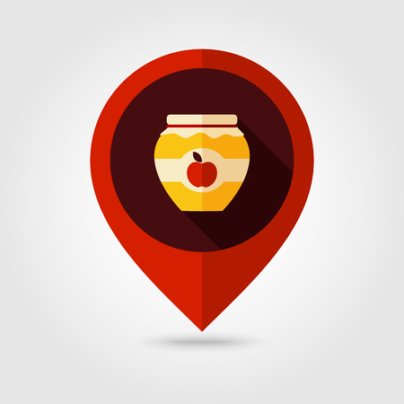 Apple jam jar flat mapping pin icon, map pointer, vector illustration eps 10