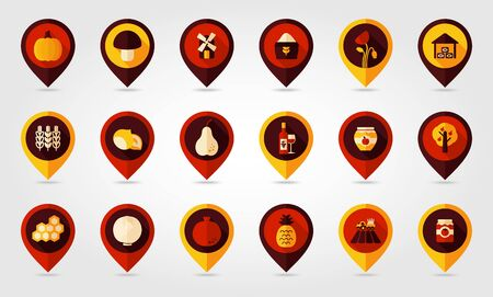 tinned: Autumn Harvest Thanksgiving flat mapping pin icon, map pointer, vector illustration eps 10