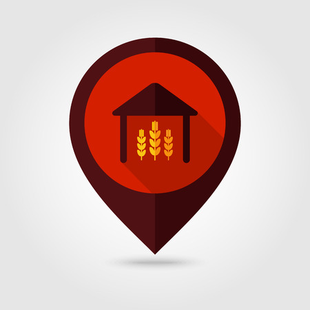 shed: Barn flat mapping pin icon, map pointer, vector illustration eps 10 Illustration
