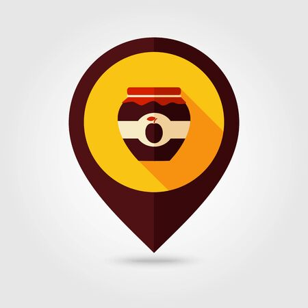 pasteurized: Plum jam jar flat mapping pin icon, map pointer, vector illustration eps 10