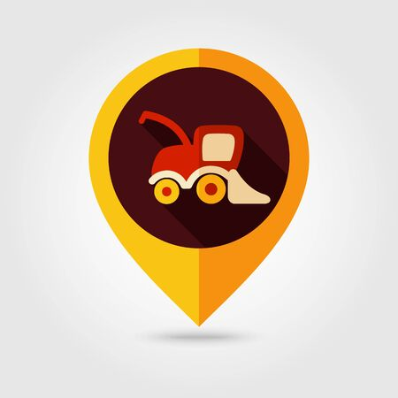 harvester: Combine harvester flat mapping pin icon, map pointer, vector illustration eps 10