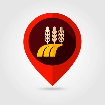 barley field: Ears of Wheat, Barley or Rye on field flat mapping pin icon, map pointer, vector illustration eps 10