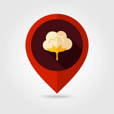cotton: Cotton flat mapping pin icon, map pointer, vector illustration eps 10