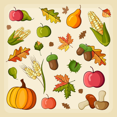 harvest: Thanksgiving Harvest icon set, vector illustration