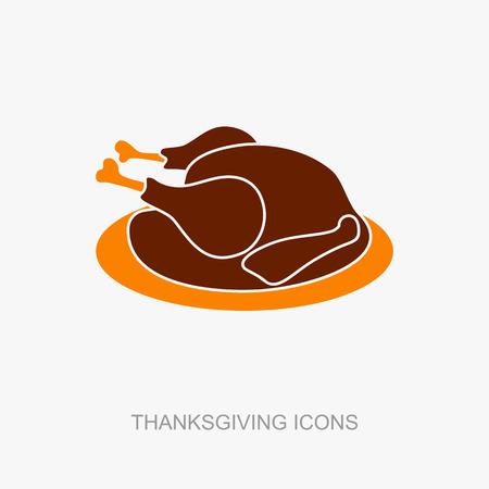 pavo: Pollo o pavo asado listo para la acción de gracias. Vector icono o signo.