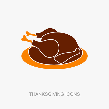 жареный: Roasted chicken or Turkey ready for Thanksgiving. Vector icon or sign.