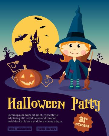 bruja: Plantilla de diseño de la fiesta de Halloween, con la niña bruja y calabaza