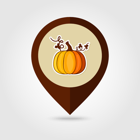 mapping: Pumpkin mapping pin icon, Harvest Thanksgiving vector illustration