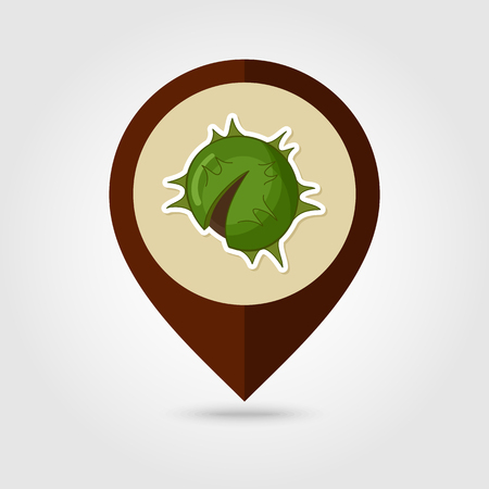 prickly fruit: Chestnut mapping pin icon, Harvest Thanksgiving vector illustration, eps 10 Illustration