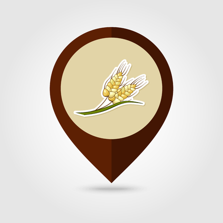 sheaf: Spikelets of wheat mapping pin icon, Harvest Thanksgiving vector illustration, eps 10