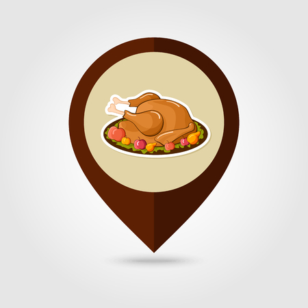 жареный: Roasted chicken or Turkey ready for Thanksgiving mapping pin icon