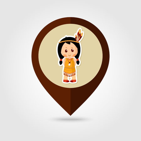 pilgrim costume: American Indian children mapping pin icon, Thanksgiving day